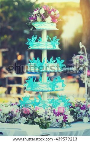 Blue White Wedding Cake Setting Stockfoto Jetzt Bearbeiten