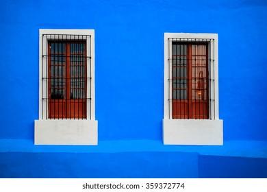 Blue White Window in Tequila Jalisco.
