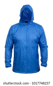 blue windbreaker sports jacket with hood, isolated on white