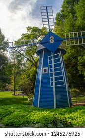 A blue windmill in the Krider World's Fair Garden in Middlebury, Indiana.
