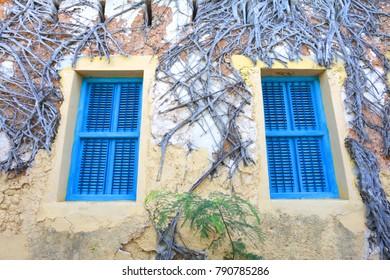 Blue windows, old house