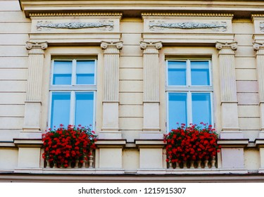 Blue windows and red flowers