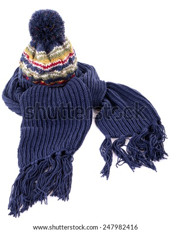 97dffa7ddcc Blue Winter Bobble Hat Ski Knit Stock Photo (Edit Now) 247982416 ...