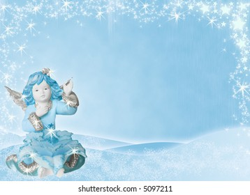 blue winter holiday background with angel and stars