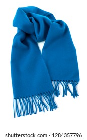 Blue winter scarf isolated white background