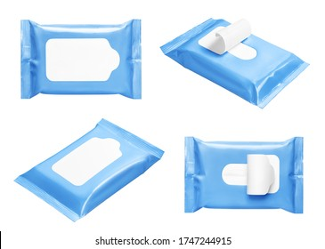 Blue wipes flow packs collection, isolated on white - Shutterstock ID 1747244915