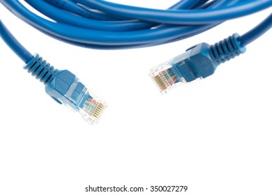 Blue Wired LAN Cable On White