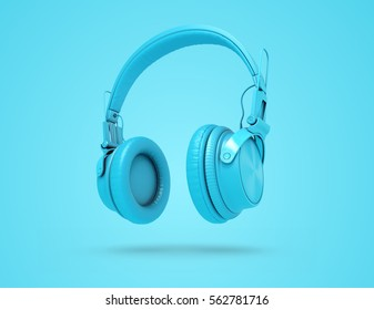 Blue wireless headphones on blue background with shadow. Musical background with audio blue headphones. 3d Illustration
