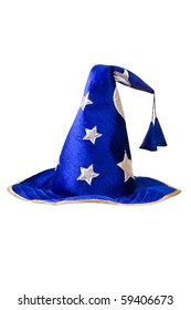 blue wizards hat with silver stars, cap isolated on white