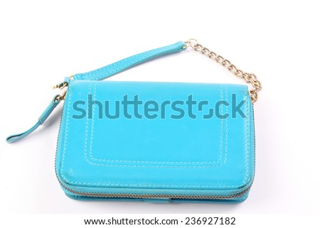 c13d5768 Blue Woman Clutch Bag On White Stock Photo (Edit Now) 236927182 ...