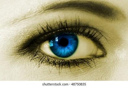 Blue woman eye closeup