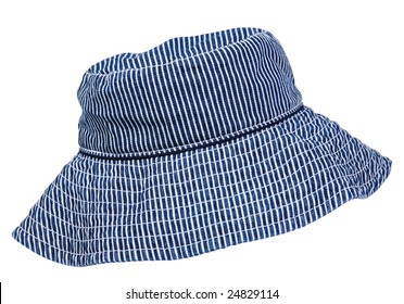 Blue woman hat accessory on white background