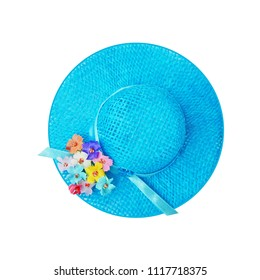 Blue woman's hat summer accessories, vacation, travel, holiday top view isolated on white background. Summertime and tourism concept.