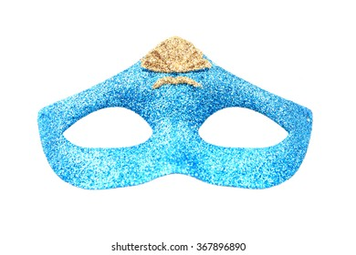 blue women carneval mask isolated on the white background