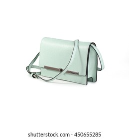 blue women leather purse isolated on white background