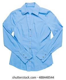 Blue women's dress shirt on white