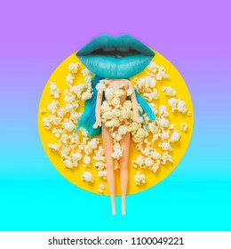 Blue women's lip instead of a head of the doll among the popcorn.  Contemporary art collage. Concept of memphis style posters. Abstract surrealism and minimalism