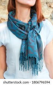 blue women's neckerchief stole with patterns