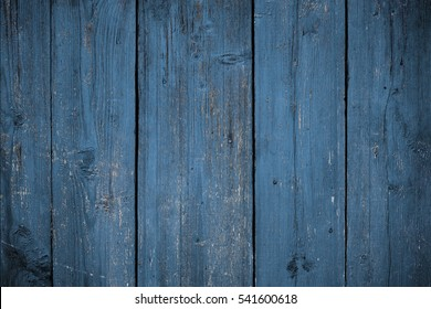 Blue wooden background. Timber texture