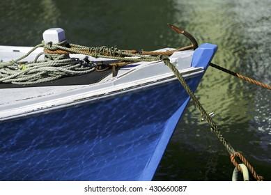 Blue wooden boat in the harbor, Melbourne, Australia