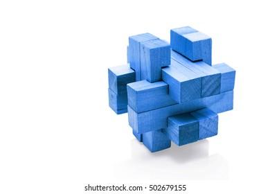 Blue wooden Brain Teaser on White Background