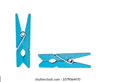 Blue wooden clothespin isolated on white background