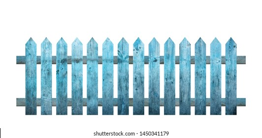 Blue wooden fence isolated on a white background that separates the objects. There are Clipping Paths for the designs and decoration