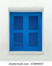 Blue wooden frame window.