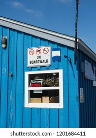 Blue wooden hut on harbour front. Dartmouth. Nova Scotia. Canada