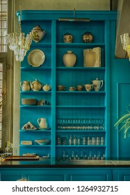 blue wooden kitchen cabinet in a public building in Gouda the Netherlands