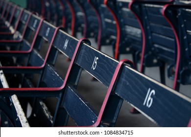 Blue Wooden Stadium Seats