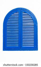 blue wooden window on white wall