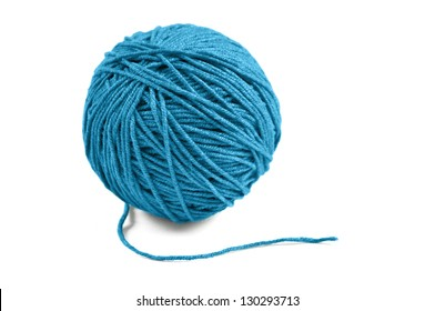 Blue wool yarn ball isolated on white background
