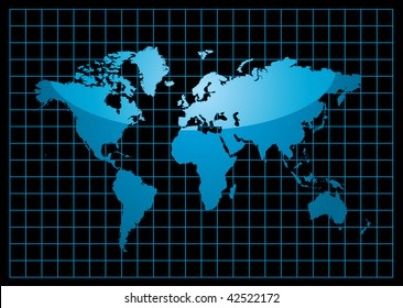 blue world map with light reflection and grid on a black background