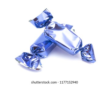 Blue Wrapped Candy on a White Background