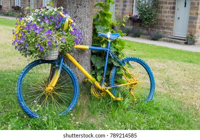 Blue & yellow bicycle