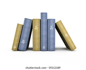 blue and yellow books on white background 3D illustration