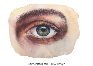Blue yellow eye watercolor illustration on paper, photo vision.