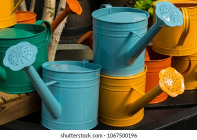 Blue and Yellow Flower Watering Pots