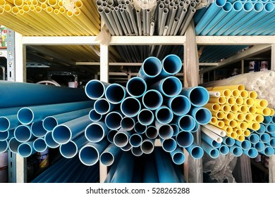 Blue yellow and gray Tubes PVC pipes