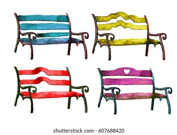 Blue, yellow, red and purple park benches set. Hand drawn watercolor painting isolated on white