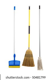 Blue and yellow sponge mop, broom and string mop on a white background