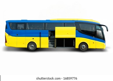 Blue and yellow tour bus with cargo door open
