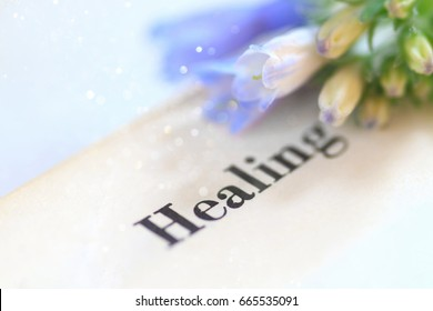 Bluebells displayed on a page with the word healing