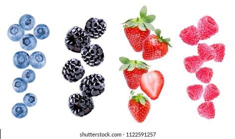 Blueberries, blackberries, strawberries and raspberries isolated on white background