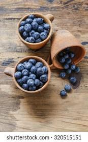 Blueberries in ceramic bowl