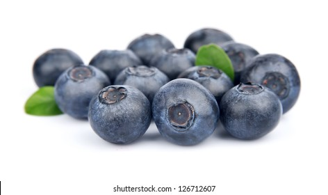 Blueberries closeup on white background