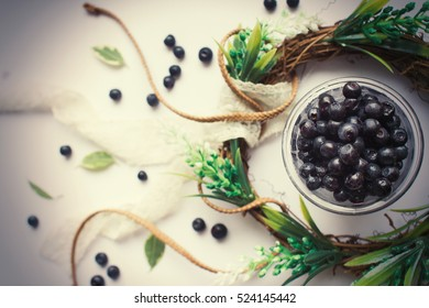 blueberries in a Cup on the table