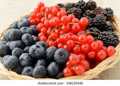 blueberries, currants and blackberries basket