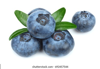 blueberries with green leaf isolated on white background. macro